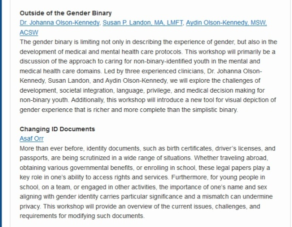 Gender odyssey workshops