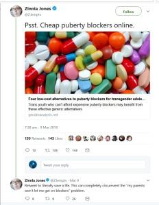 Zinnia Jones cheap puberty blockers online